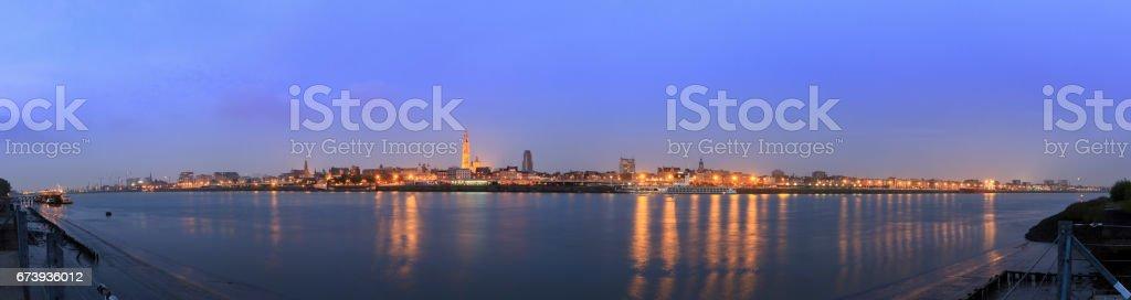 Antwerp river Scheldt panorama stock photo