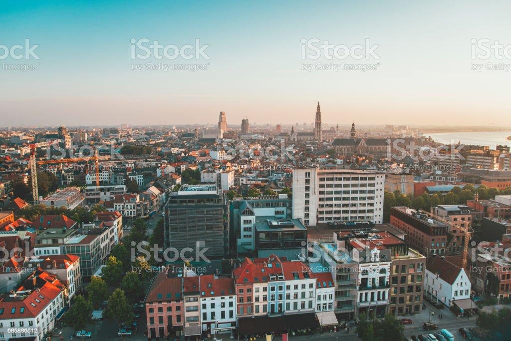 Antwerp skyline, Belgium stock photo