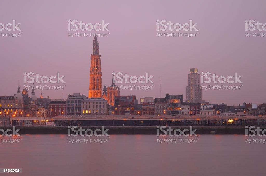 Antwerp Skyline in the Mist stock photo