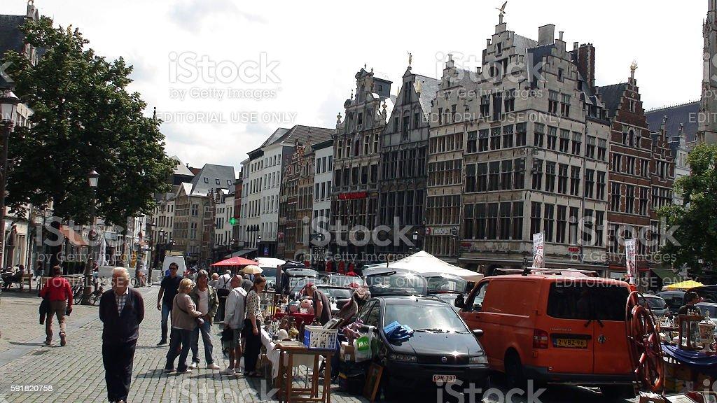 Antwerp Street Vendors Including People Walking And Looking.Belgium.Europe stock photo