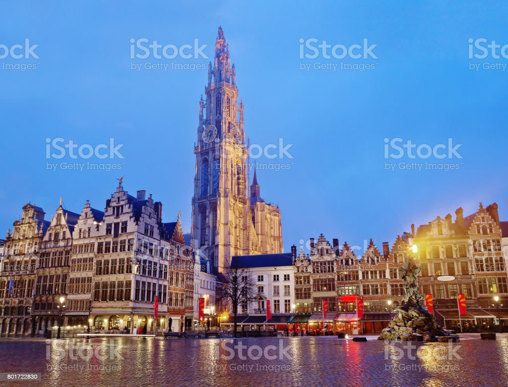 Antwerp. The Cathedral Of Our Lady. The Monument To Rubens. stock photo