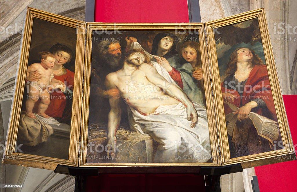 Antwerp - The Lamentation by baroque painter Peter Paul Rubens stock photo