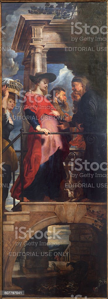 Antwerp - The Visitation of Virgin Mary to Elizabeth stock photo