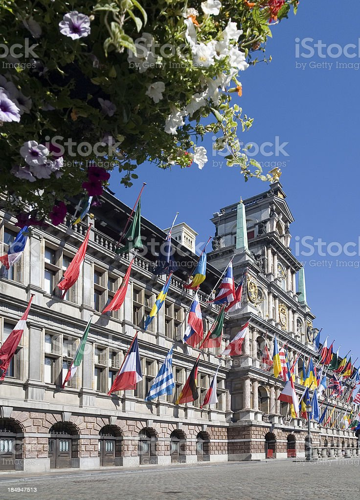 Antwerp town hall at the central square royalty-free stock photo
