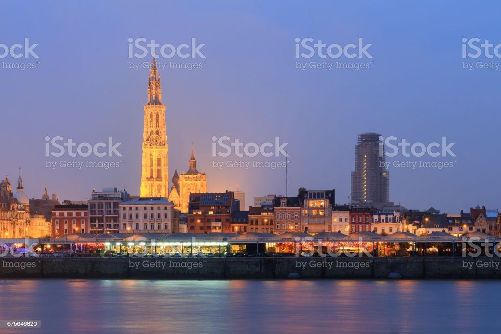 Antwerp view at night stock photo