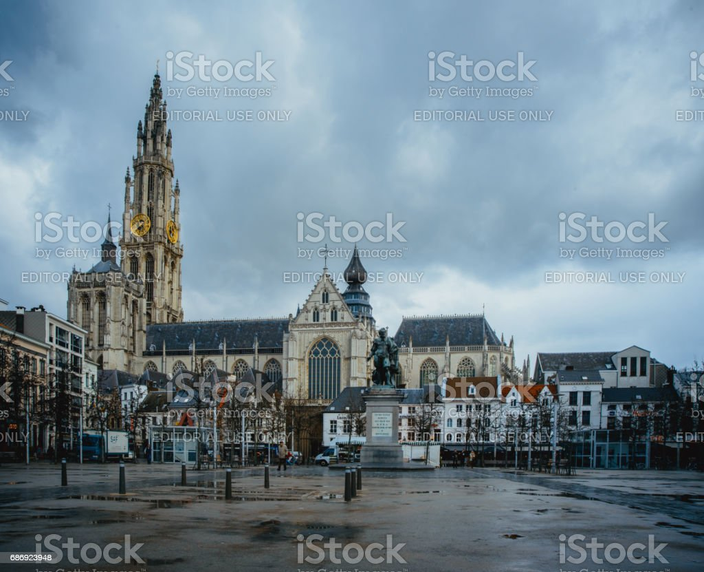 ANTWERP-BELGIUM-Feb 2017: Cathedral of Our Lady. stock photo