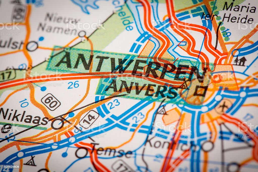 Antwerpen City on a Road Map stock photo