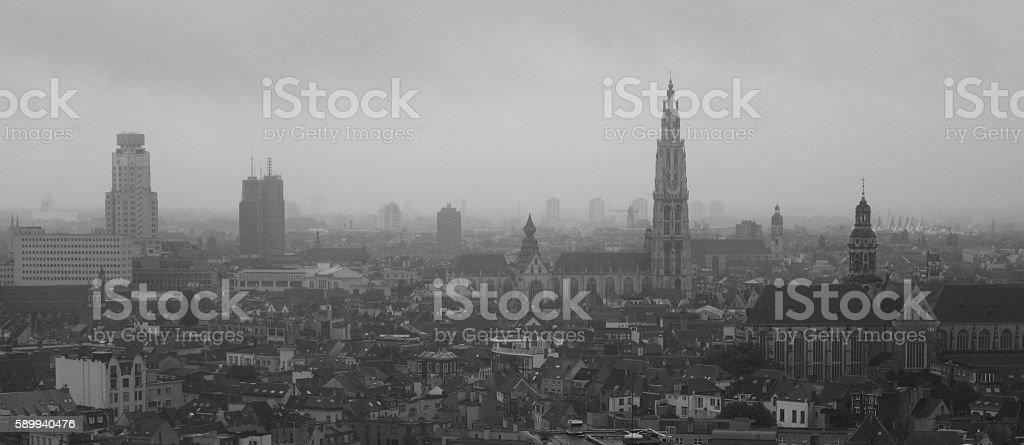 Antwerpen im Regen stock photo
