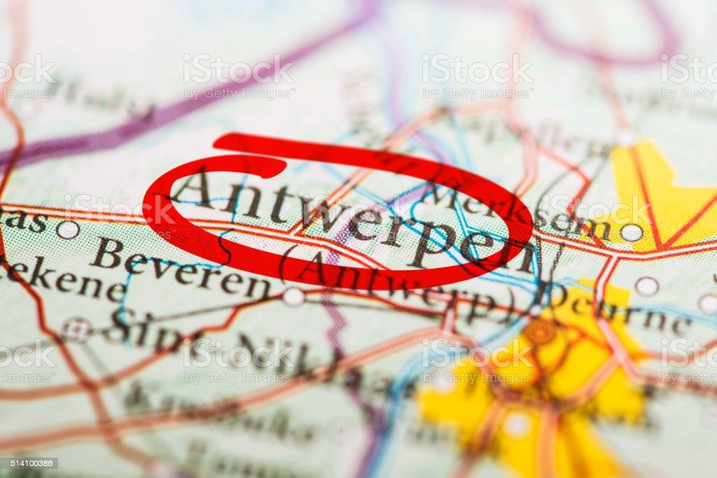 Antwerpen Marked on Map stock photo