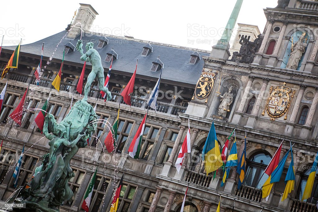 Antwerp's city hall with the Brabo fountain stock photo