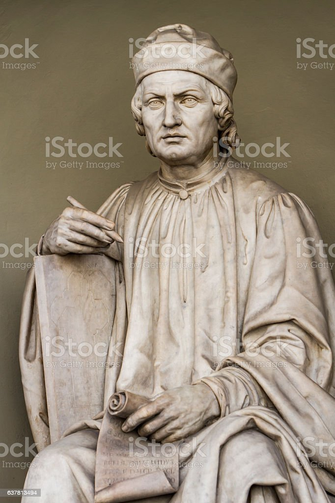 Arnolfo di Cambio statue in Florence, Italy stock photo