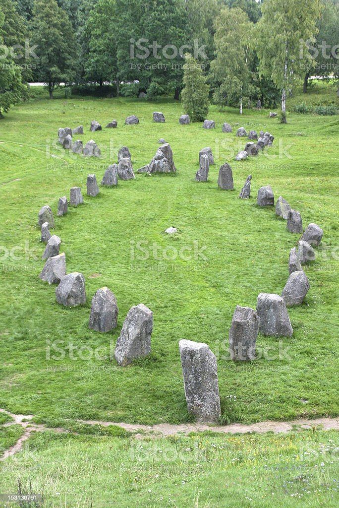 anundshog cemetary, rune stone, sweden royalty-free stock photo