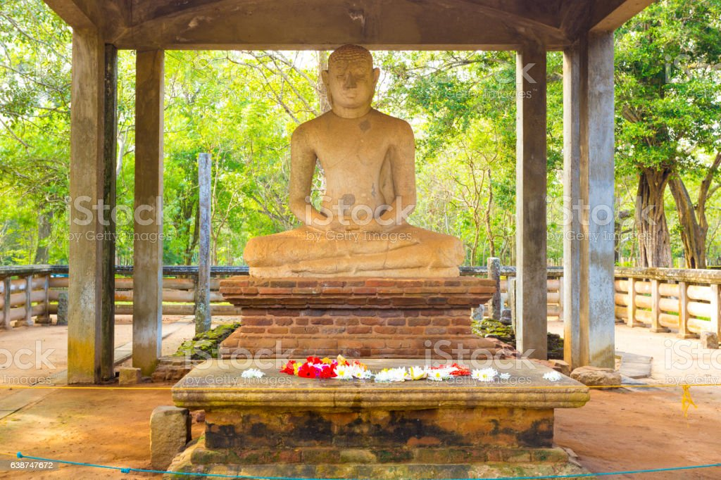 Anuradhapura Samadhi Buddha Statue Altar Close stock photo