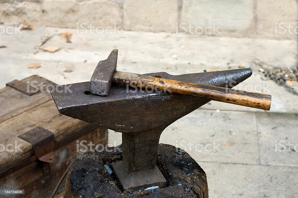 Anvil and hammer royalty-free stock photo