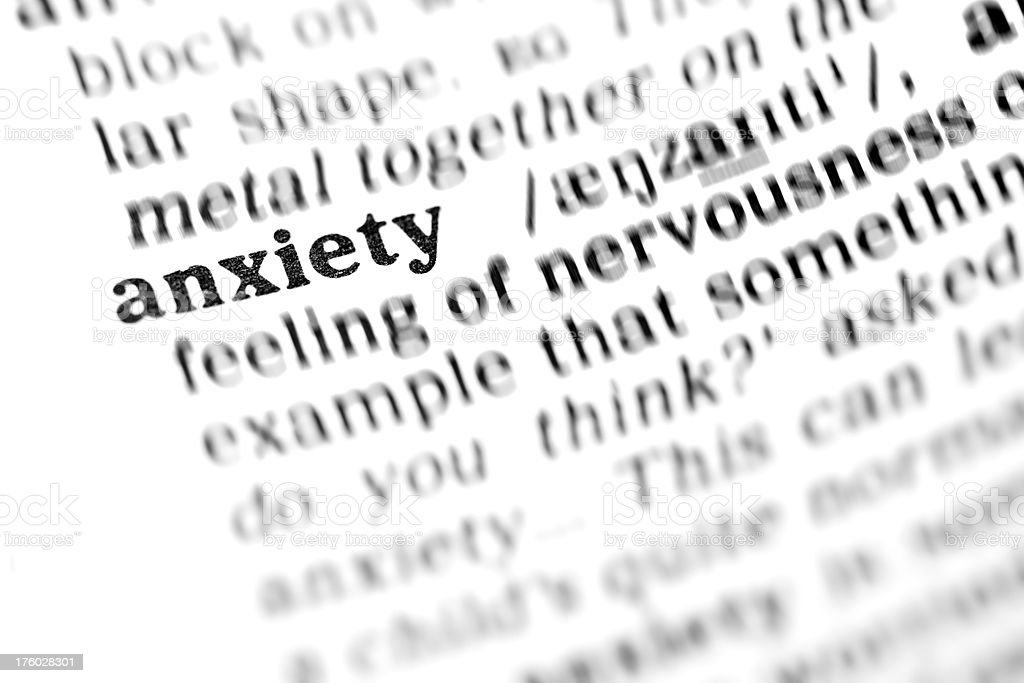 anxiety (the dictionary project) stock photo