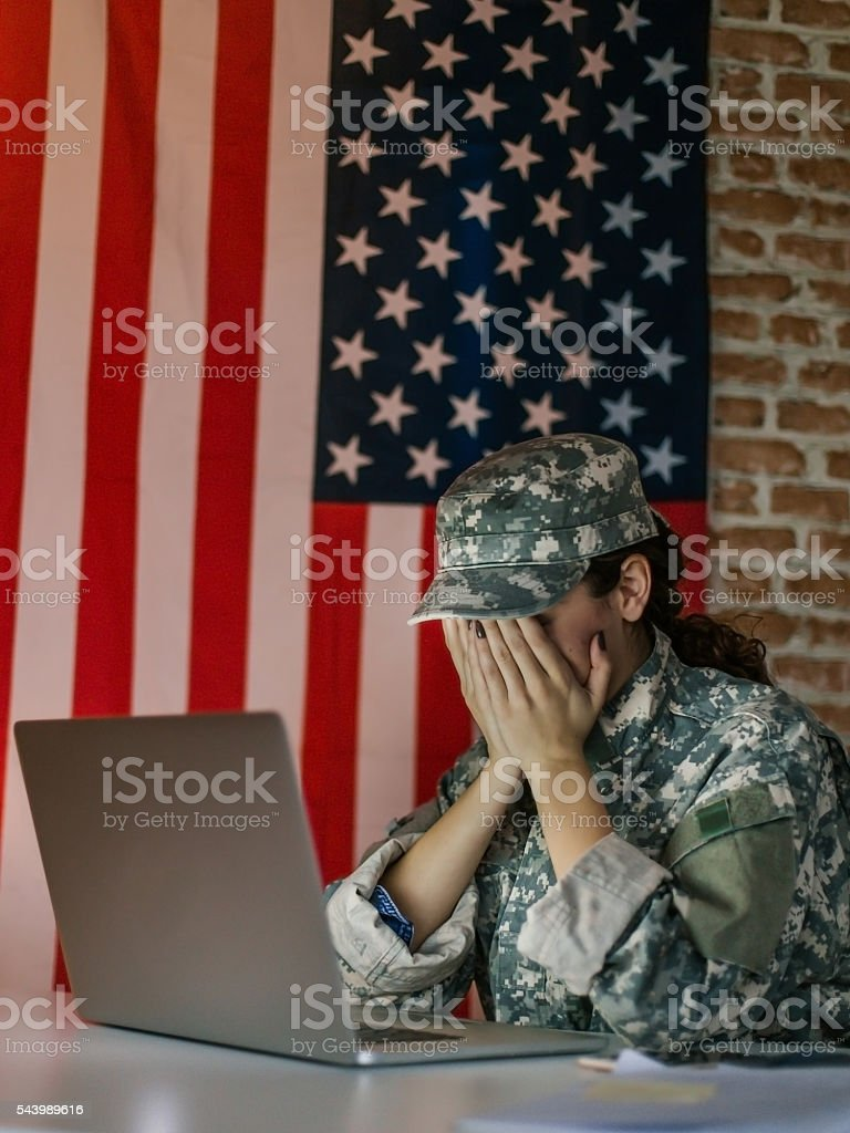 Anxiety woman soldier stock photo