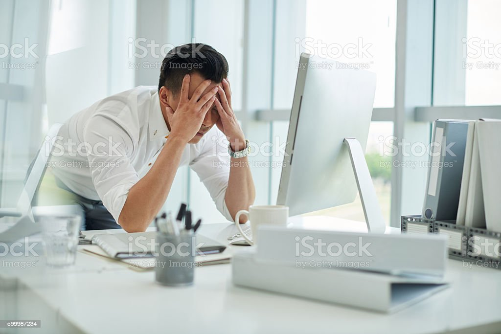Anxious businessman stock photo
