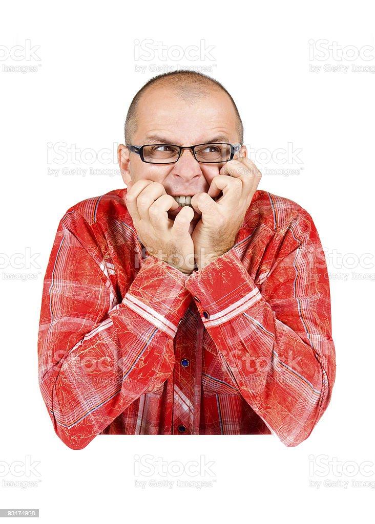 Anxious man isolated on white stock photo