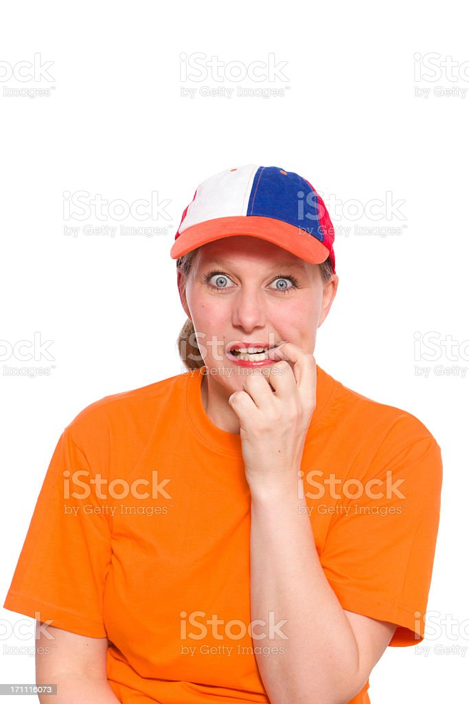 Anxious Orange Fan royalty-free stock photo