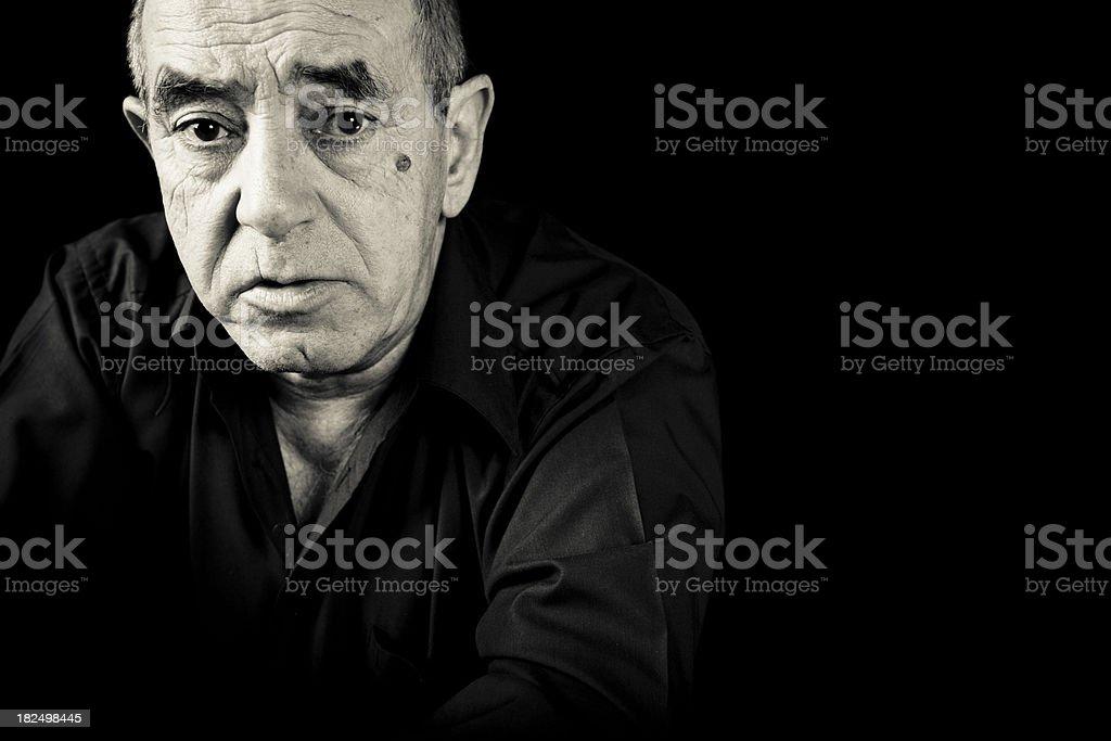 Anxious senior man stock photo