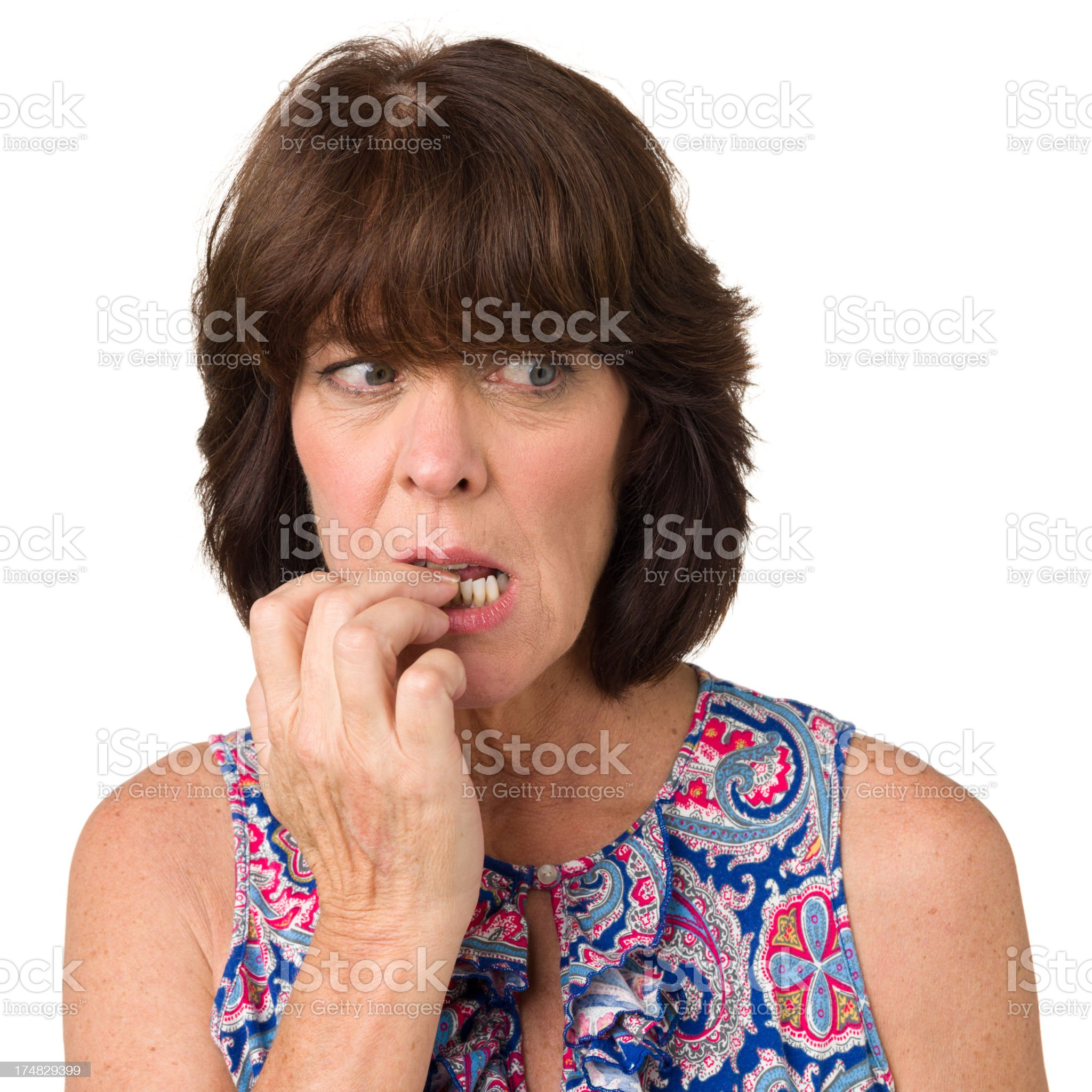 Anxious Woman Biting Fingernails royalty-free stock photo