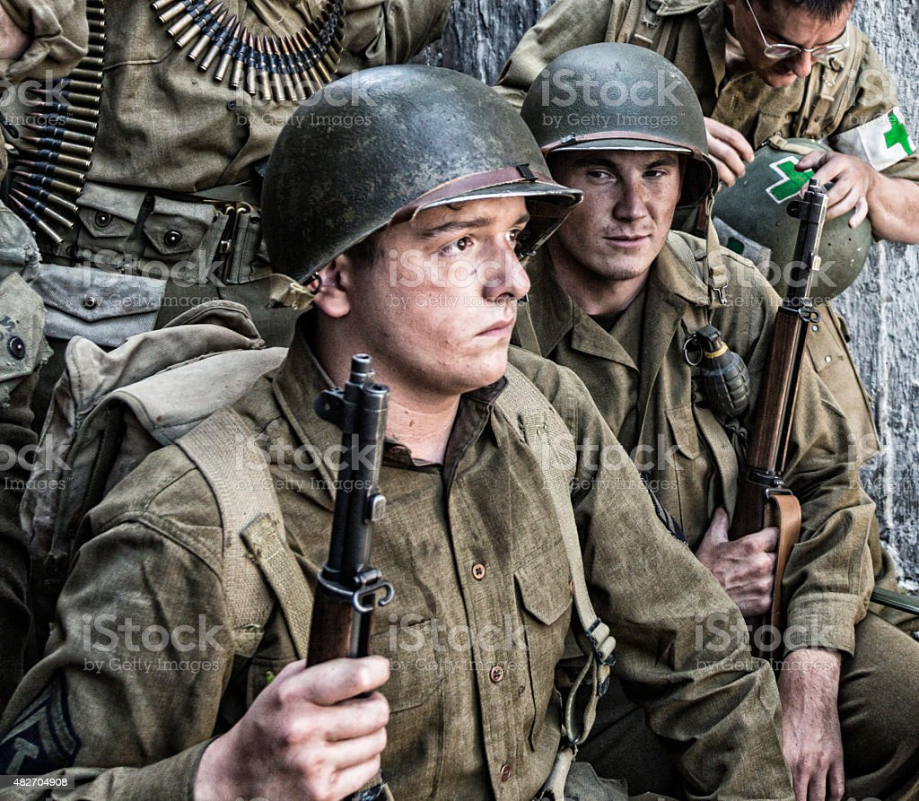 Anxious Young World War Two US Army Soldier stock photo
