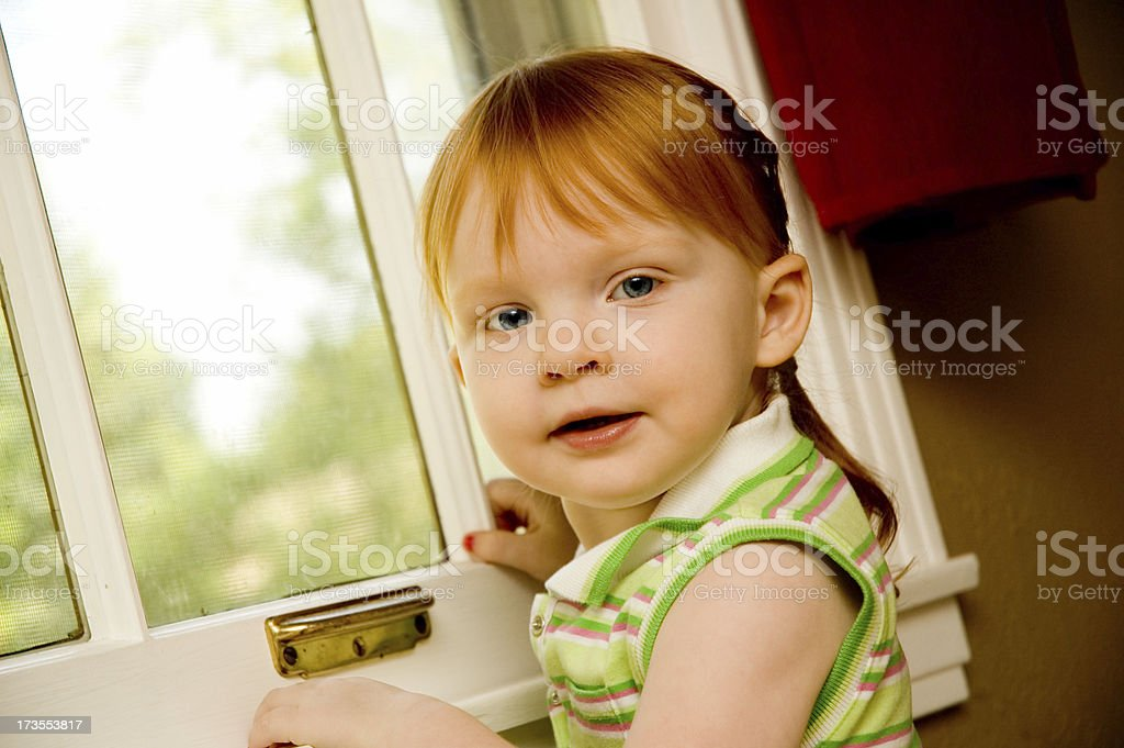 Anxiously Awaiting Redhead stock photo