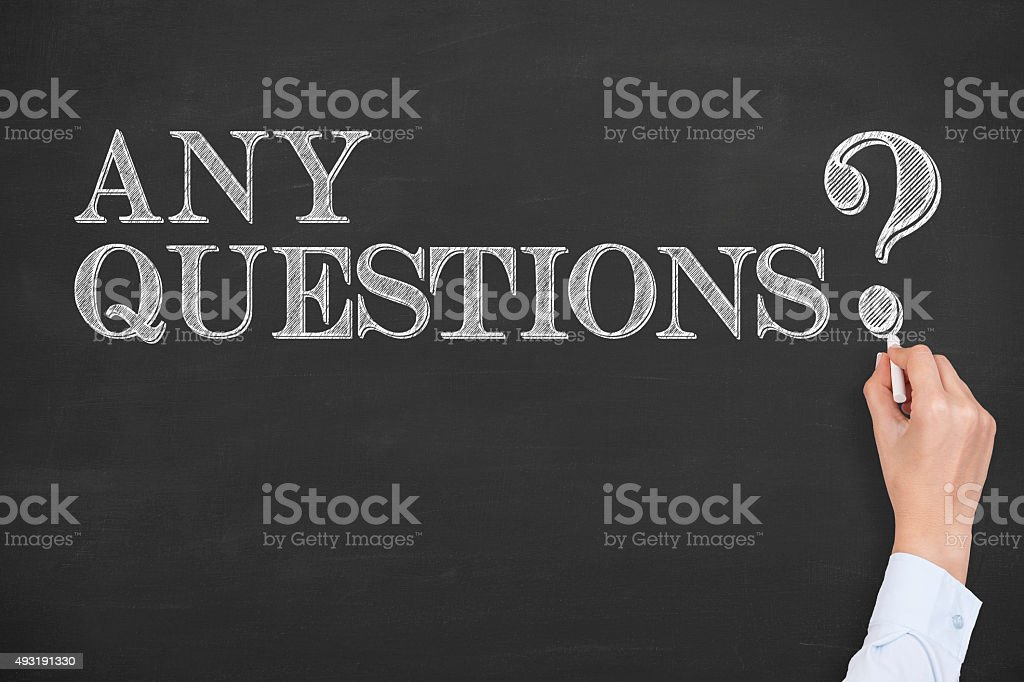Any Questions Concept on Chalkboard stock photo