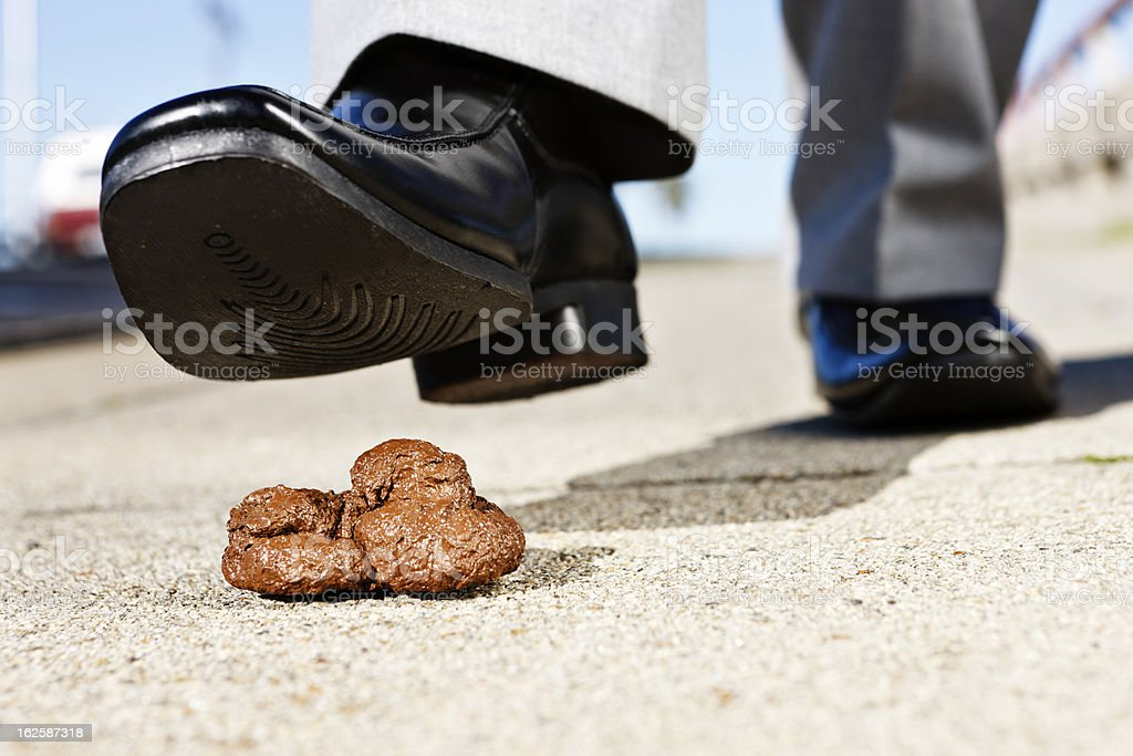 Any second now! Man's foot hovers over dog poo stock photo