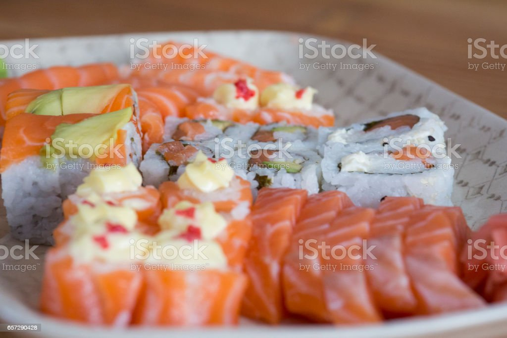 Anyone keen for sushi for dinner? stock photo