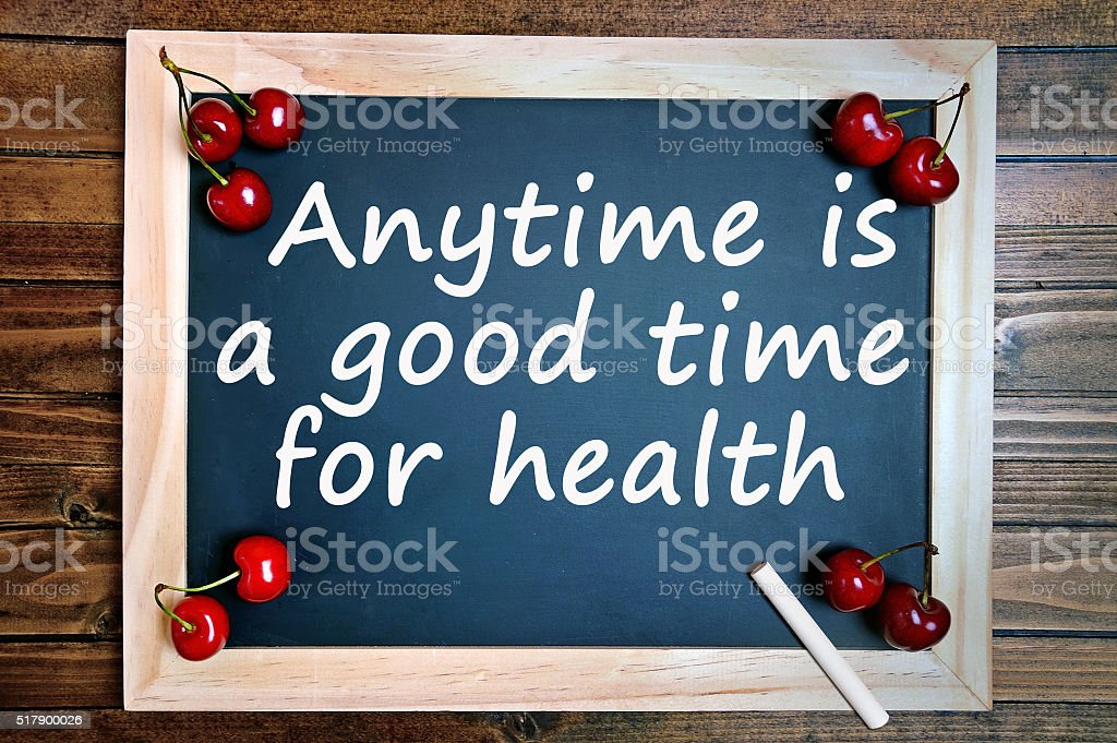 Anytime is a good time for health stock photo