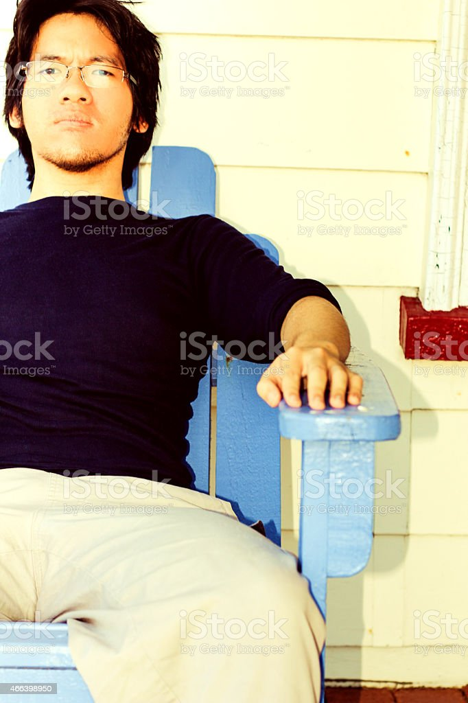 Anywhere he sits is a throne stock photo