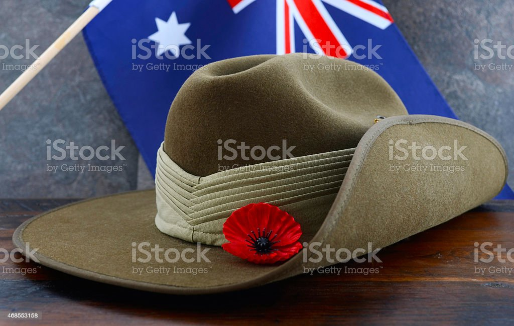 Anzac army slouch hat with Australian Flag stock photo