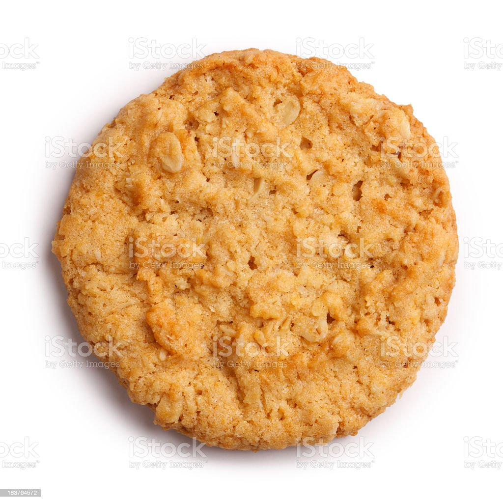 Anzac Biscuit Isolated + Clipping Path royalty-free stock photo