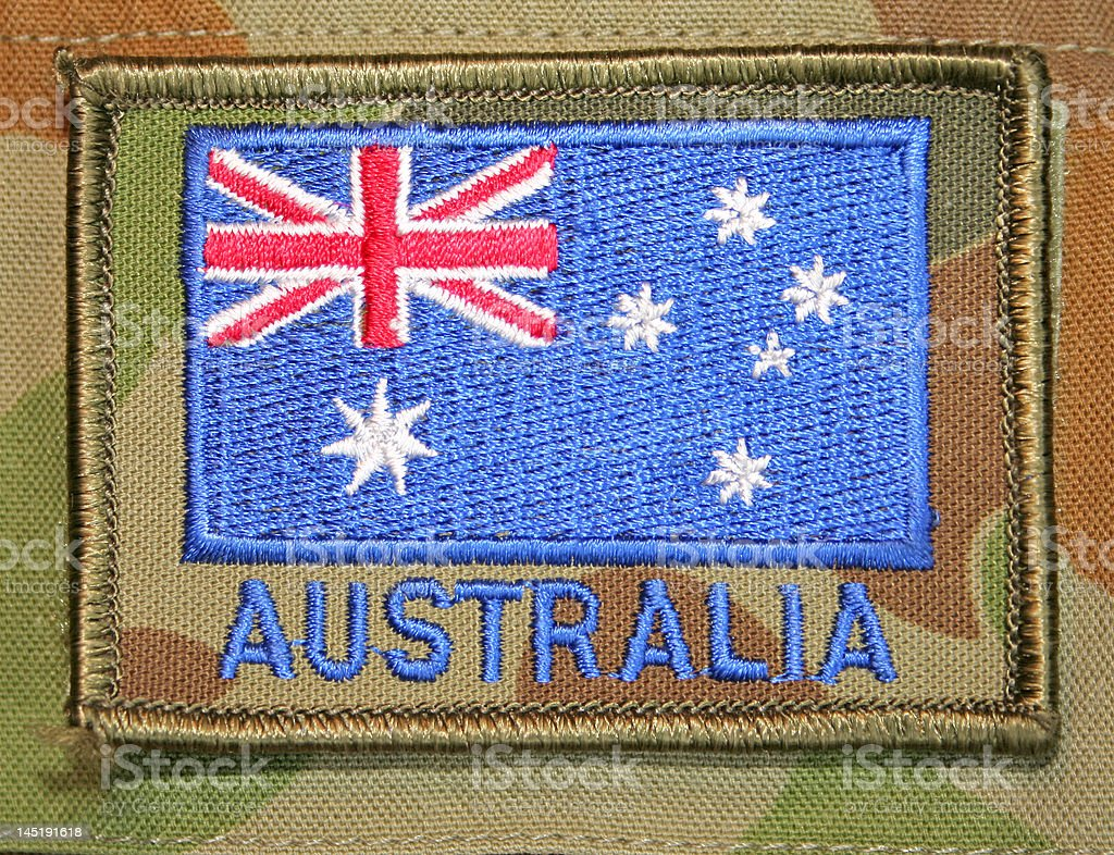 Anzac Day - AustralianNational Flag on Army soldier uniform stock photo