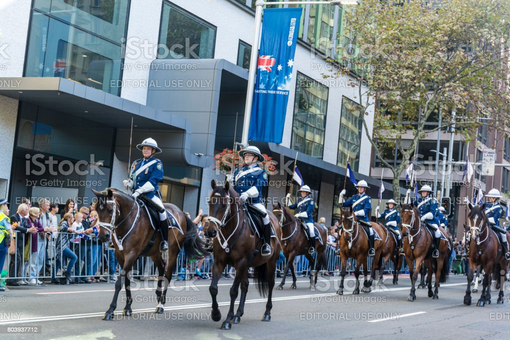 Anzac Day Parade, an annual remembrance day, Sydney, Australia stock photo