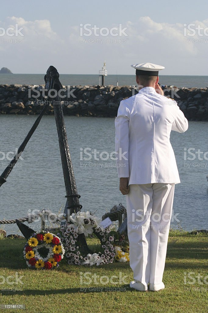anzac day salute sailor royalty-free stock photo