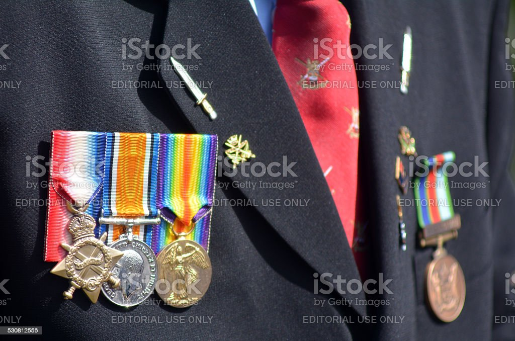 Close up of war medals on New Zealander soldier during a National War...
