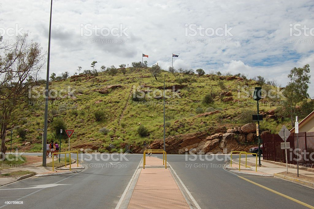 Anzac Hill at Alice Springs stock photo