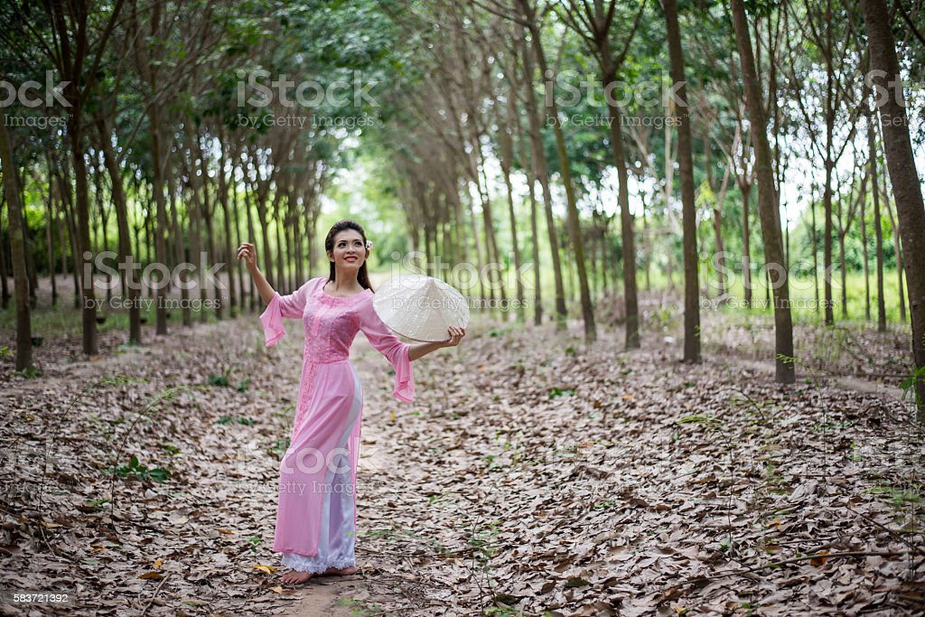 Ao dai is famous traditional costume for woman in VIetnam. stock photo