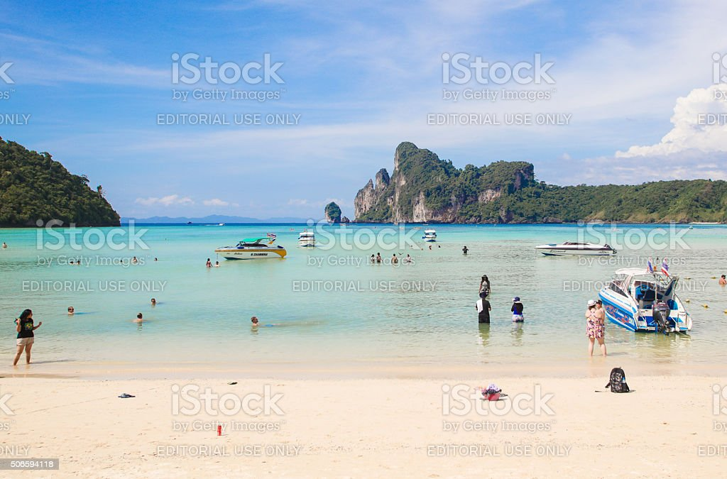 Ao Lo Dalam Beach on Ko Phi Phi Don stock photo