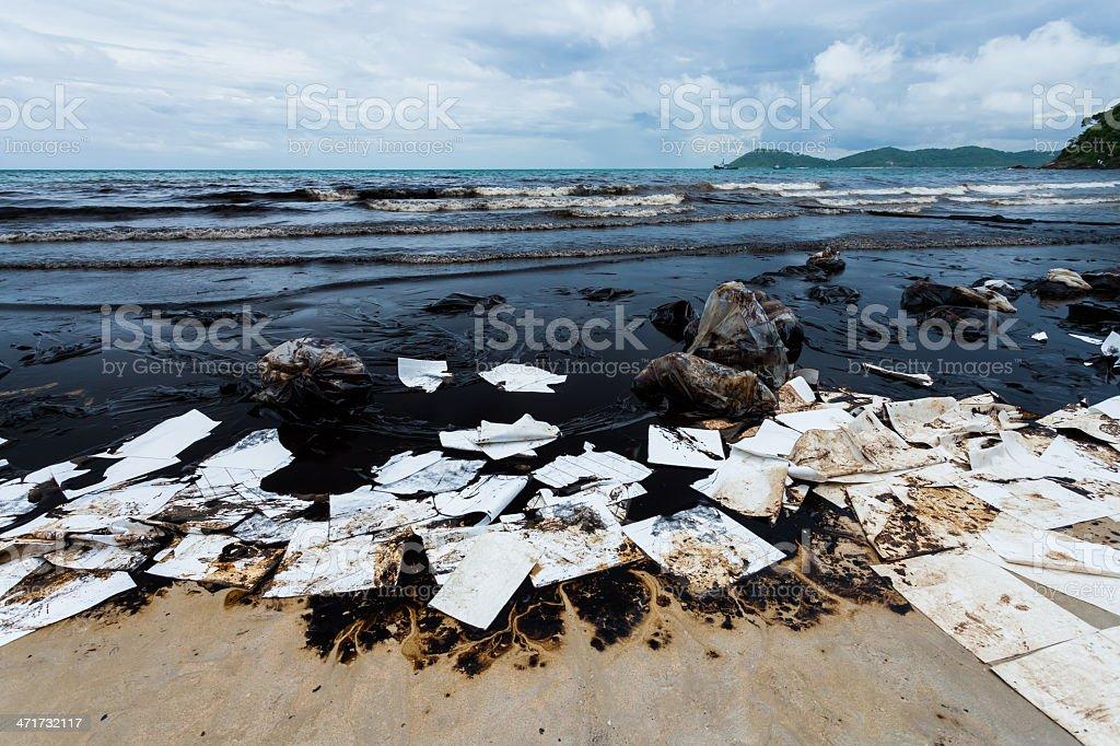 Ao Prao Beach was full of crude oil stock photo