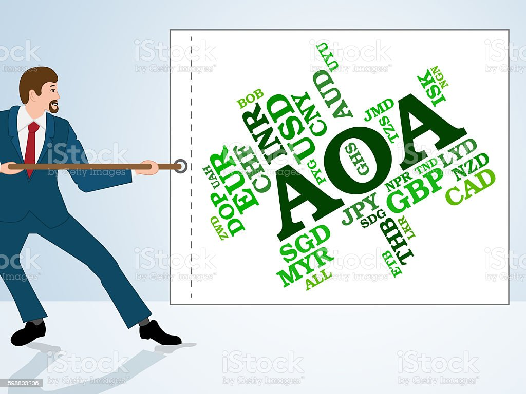 Aoa Currency Indicates Exchange Rate And Broker stock photo