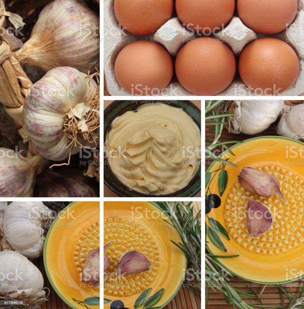 Aïoli provençale - Oeufs Ail - Gratte Ail - Tresse d'ail stock photo