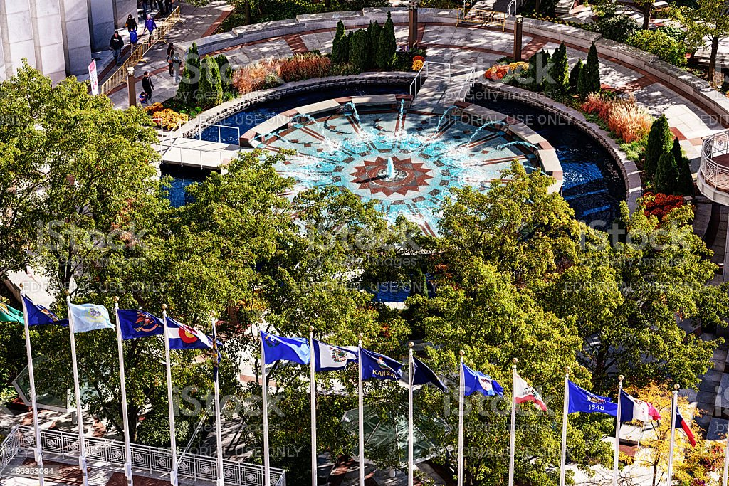 Aon Center Plaza fountain and flags, Chicago stock photo