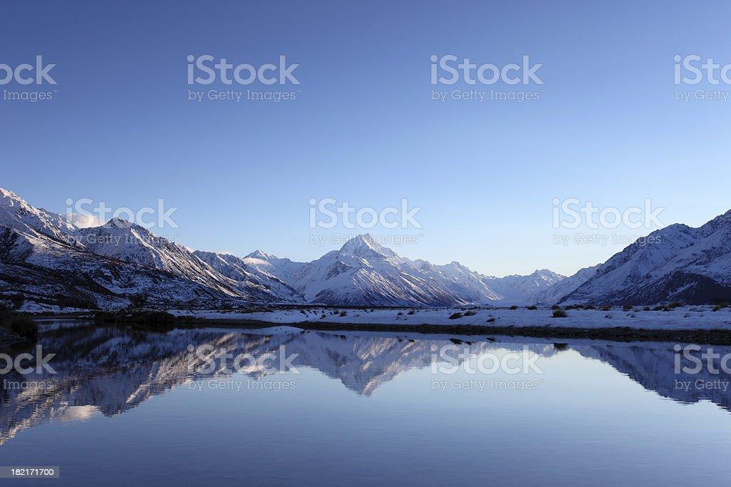 Aoraki Mt Cook reflections stock photo