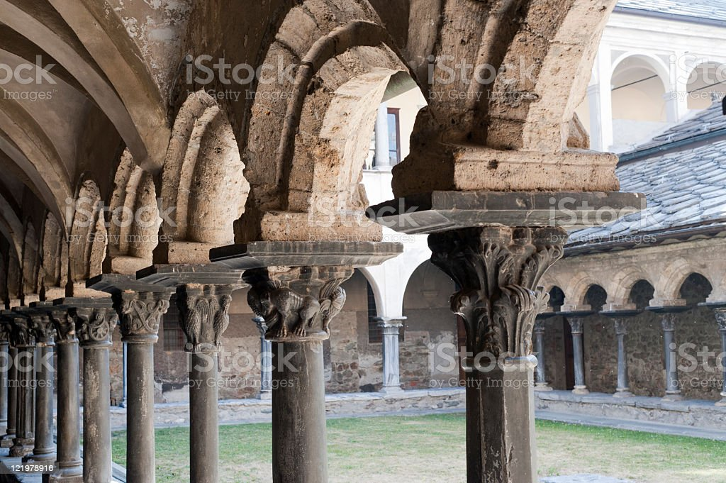 Aosta - Cloister of Sant'Orso stock photo