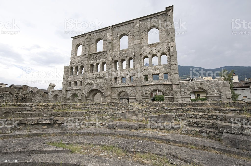 Aosta (Italy) - Ruins of the Roman Theatre royalty-free stock photo