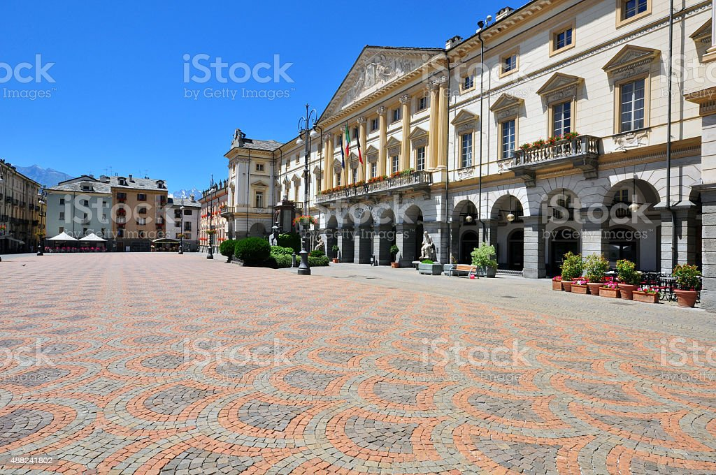 Aosta town sqaure stock photo