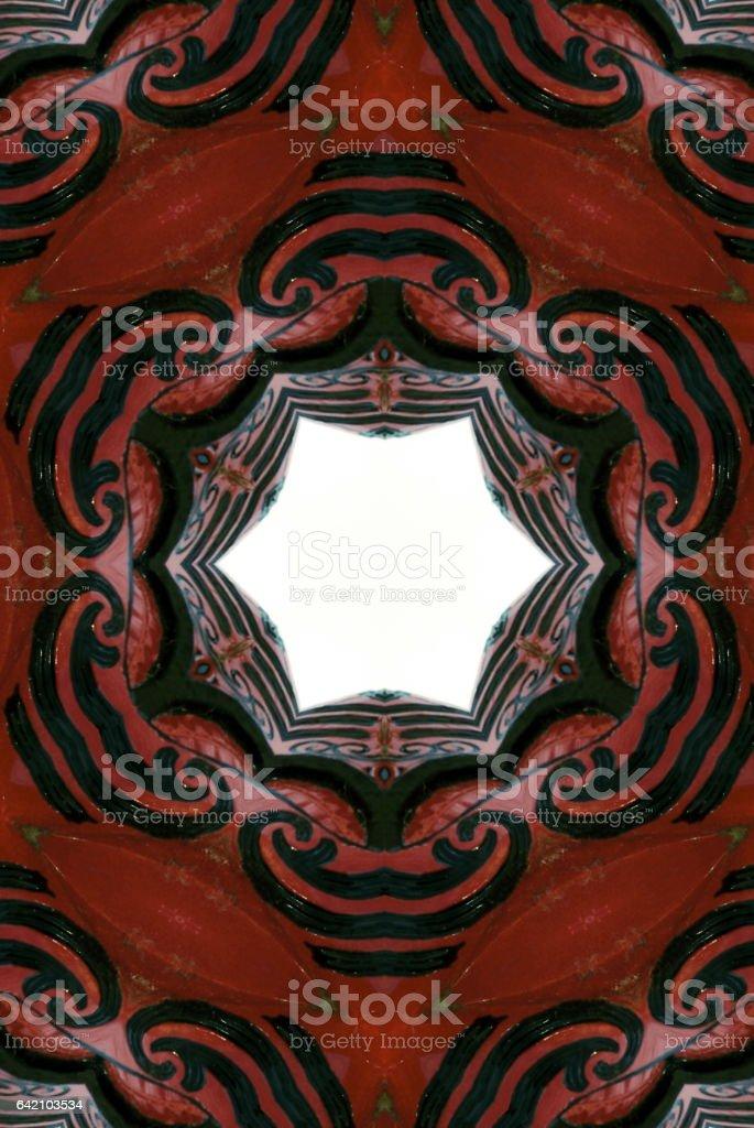 Aotearoa/ New Zealand Maori Pou Figure Mandala stock photo